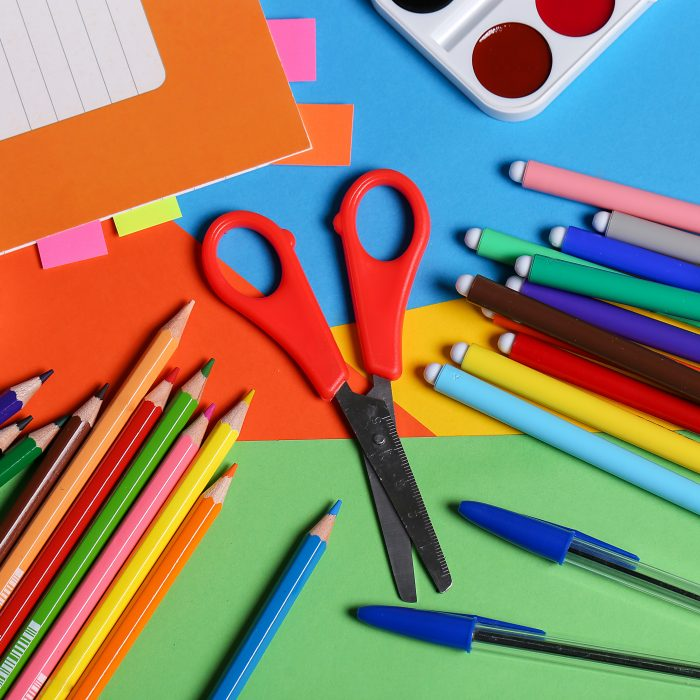 Tools. Stationery on the table